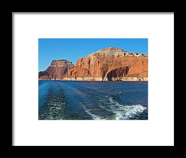 Tour Boat Wake Lake Powell In Glen Canyon National Recreation Area Framed Print featuring the photograph Tour Boat Wake In Lake Powell In Glen Canyon National Recreation Area-utah by Ruth Hager