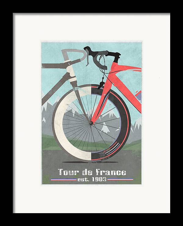 France Framed Print featuring the digital art Tour De France Bicycle by Andy Scullion