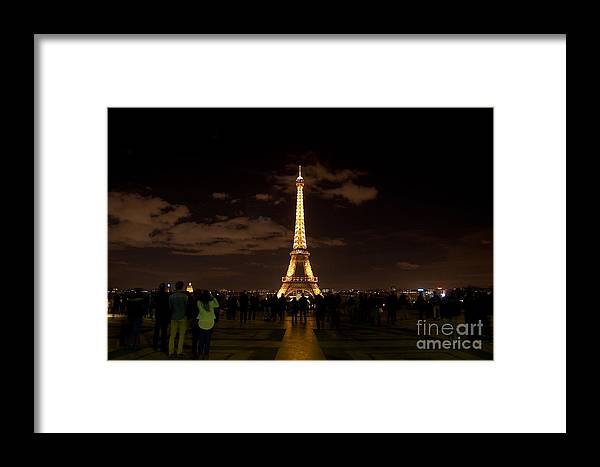 Tour Eiffel Framed Print featuring the photograph Tour Eiffel At Night With Reflection. by Artur Debat