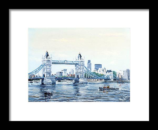 Tower Bridge Framed Print featuring the painting Tower Bridge And The City Of London by Mackenzie Moulton