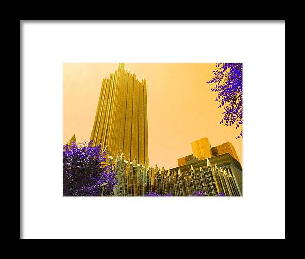 Towers Framed Print featuring the digital art Tower Gold by Joseph Wiegand