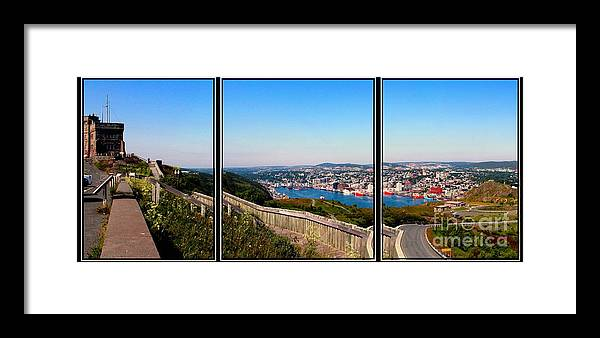 Tower Over The City Framed Print featuring the photograph Tower Over The City Triptych by Barbara Griffin
