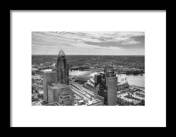 Tower Reflections Framed Print featuring the photograph Tower Reflections 2 Bw by Mel Steinhauer
