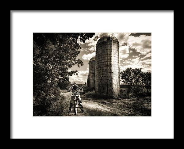 Landscape Framed Print featuring the photograph Town Line by Bob Orsillo