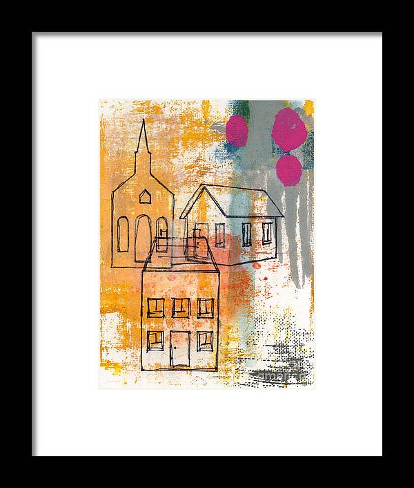 Abstract Framed Print featuring the painting Town Square by Linda Woods