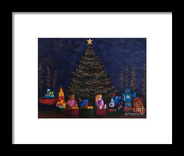 Iris Holzer Richardson Framed Print featuring the painting Christmas Toys by Iris Richardson