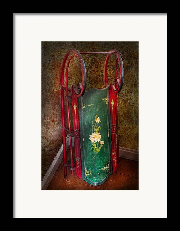 Children Framed Print featuring the photograph Toy - Sled - Fun Memories With My Sled by Mike Savad
