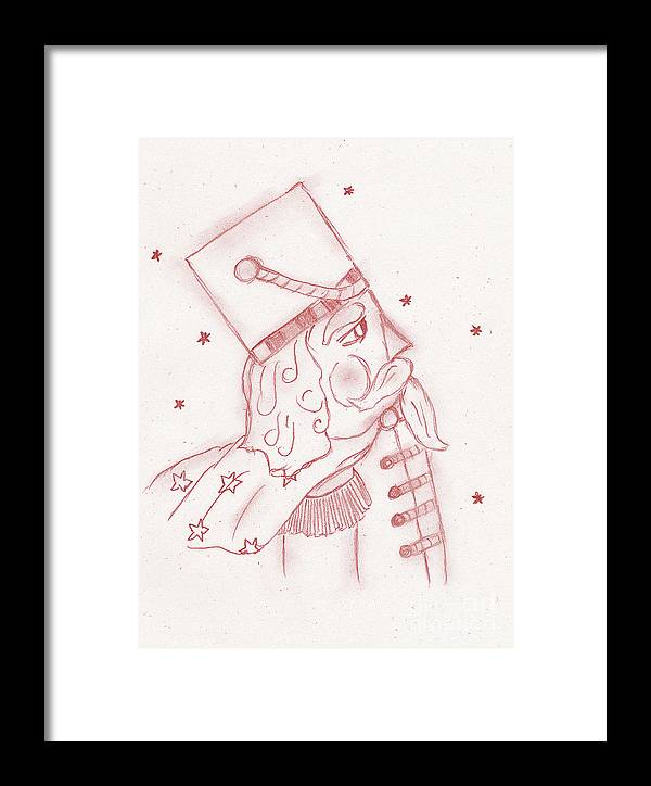 Toy Soldier Framed Print featuring the drawing Toy Soldier Nutcracker In Red by Sonya Chalmers