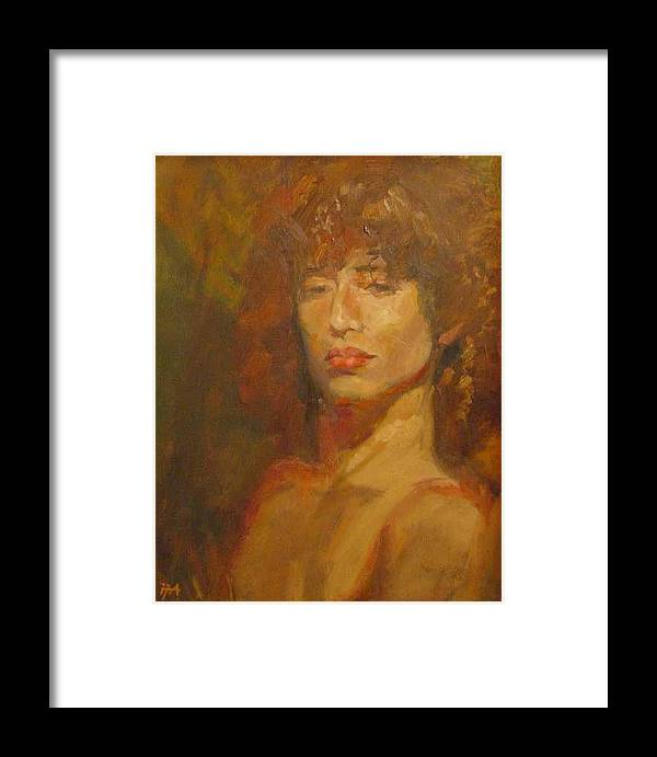 Portrait Framed Print featuring the painting Tracy by Irena Jablonski