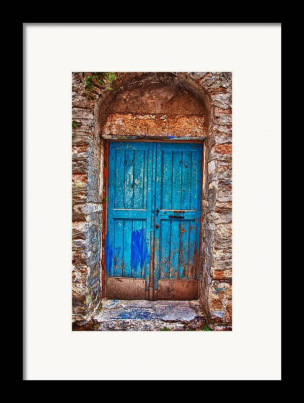 Old Framed Print featuring the photograph Traditional Door 2 by Emmanouil Klimis