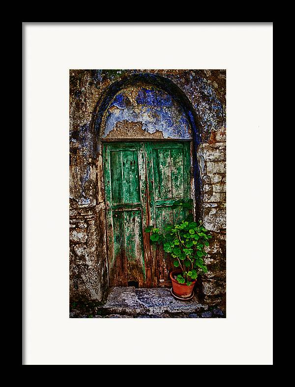Old Framed Print featuring the photograph Traditional Door by Emmanouil Klimis