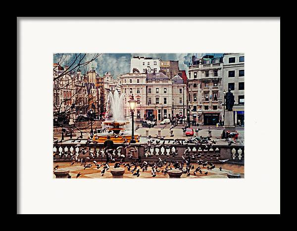 Trafalgar Square Framed Print featuring the photograph Trafalgar Square London by Diana Angstadt