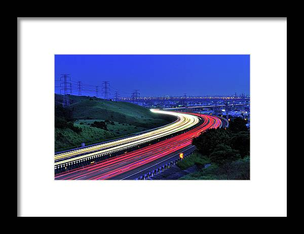 Curve Framed Print featuring the photograph Traffic Trails At High Way by Photo By Vincent Ting