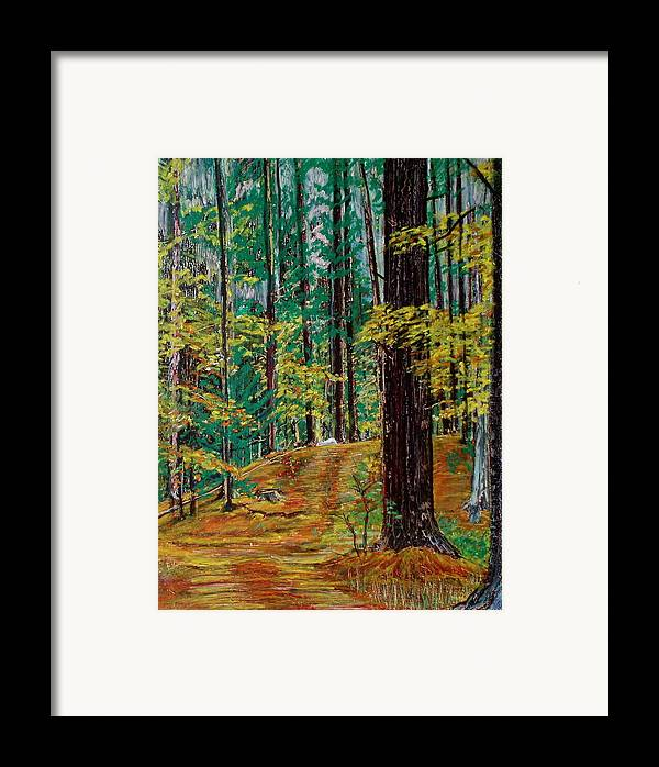New Hampshire Framed Print featuring the pastel Trail At Wason Pond by Sean Connolly