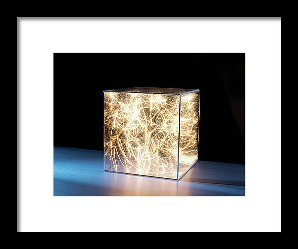 Block Shape Framed Print featuring the photograph Trail Of Bright Light In Box by Pm Images