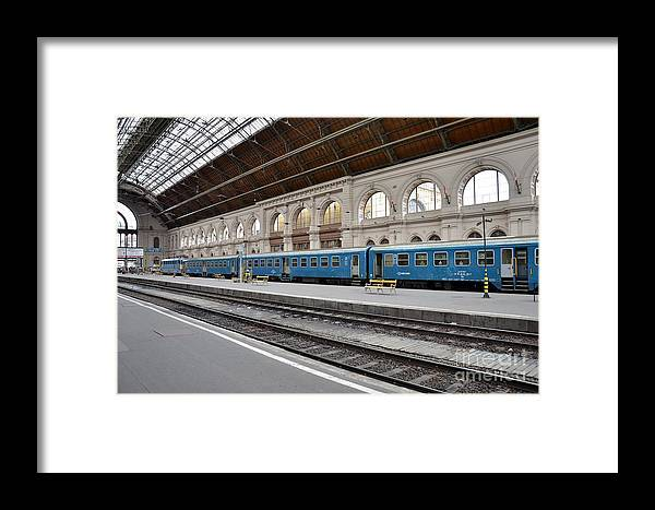 Train Framed Print featuring the photograph Train At Station Platform Budapest Hungary by Imran Ahmed