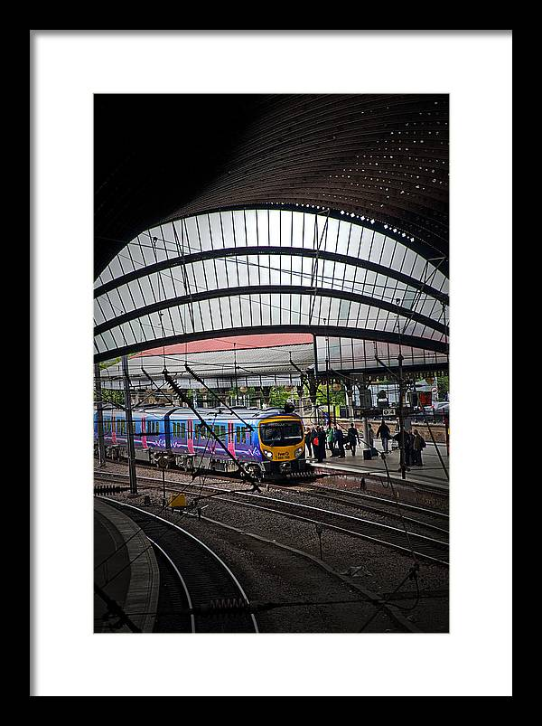 Train Framed Print featuring the photograph Train Pulling In by Geoff Evans