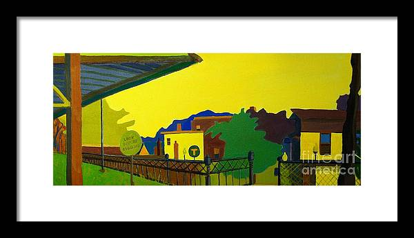 Landscape Framed Print featuring the painting Trainstop by Debra Bretton Robinson