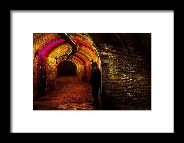 Netherlands Framed Print featuring the photograph Trajectum Lumen Project. Ganzenmarkt Tunnel 9. Netherlands by Jenny Rainbow