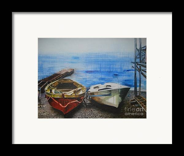 Landscape Framed Print featuring the painting Tranquility Till Tide From The Farewell Songs by Prasenjit Dhar