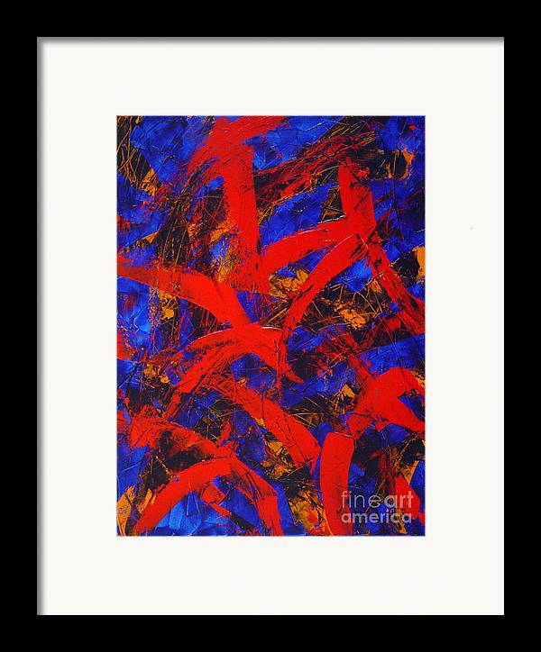 Abstract Framed Print featuring the painting Transitions With Blue And Red by Dean Triolo