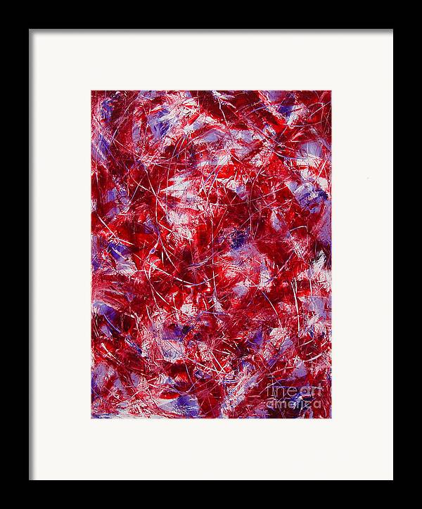 Abstract Framed Print featuring the painting Transitions With White Red And Violet by Dean Triolo