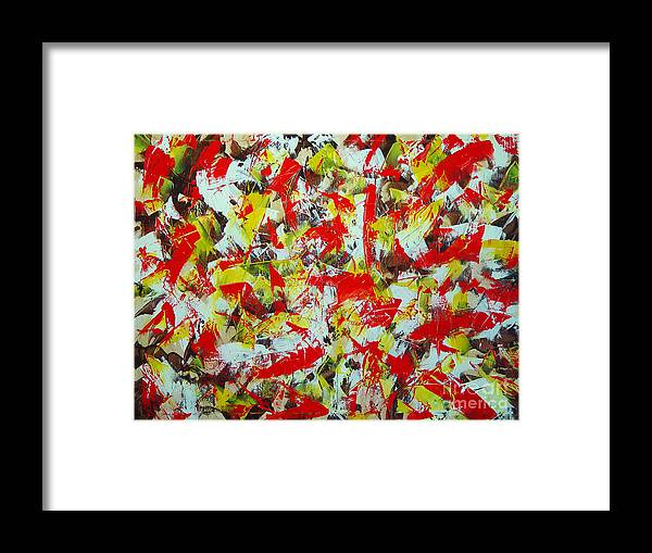 Abstract Framed Print featuring the painting Transitions With Yellow Brown And Red by Dean Triolo