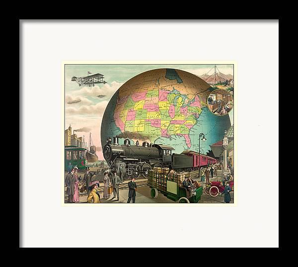 Antique Framed Print featuring the digital art Transportation by Gary Grayson