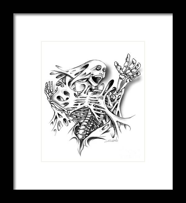 Spano Framed Print featuring the painting Trapped Skeleton By Spano by Michael Spano