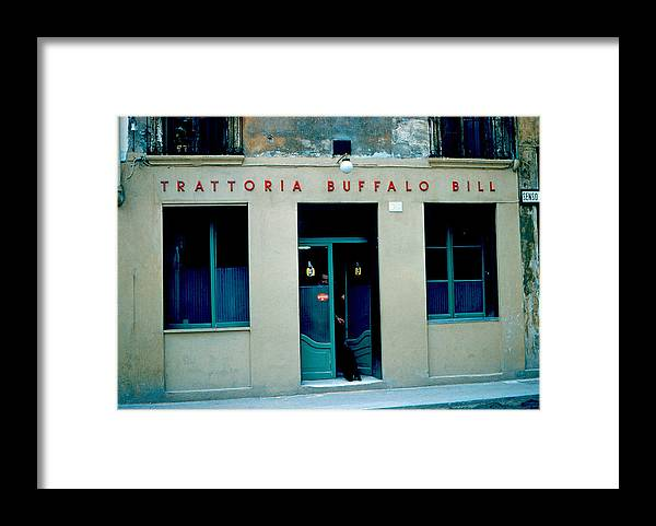 Vicenza Framed Print featuring the photograph Trattoria Buffalo Bill 1962 by Cumberland Warden