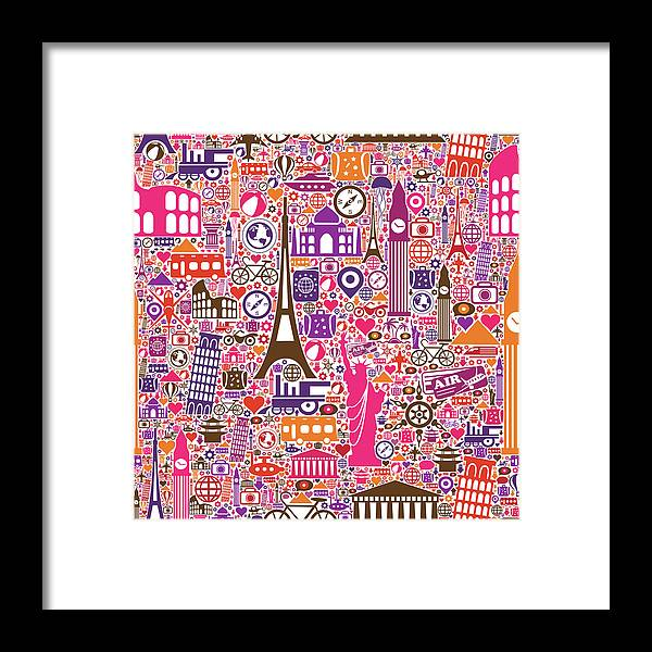 Chinese Culture Framed Print featuring the digital art Travel Seamless Pattern by Liana Monica Bordei