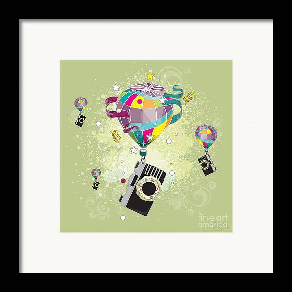 Art Framed Print featuring the digital art Traveling Camera by Disko Galerie