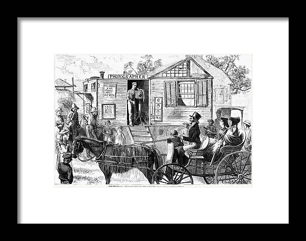 1871 Framed Print featuring the painting Traveling Photographer by Granger