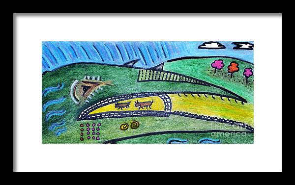 Picasso Framed Print featuring the painting Treasure Hunt Art Puzzle Ocean by Lois Picasso