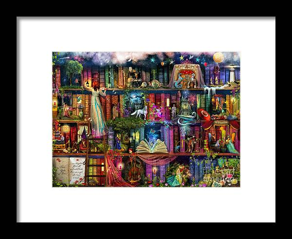 Fairytale Framed Print featuring the digital art Fairytale Treasure Hunt Book Shelf by MGL Meiklejohn Graphics Licensing