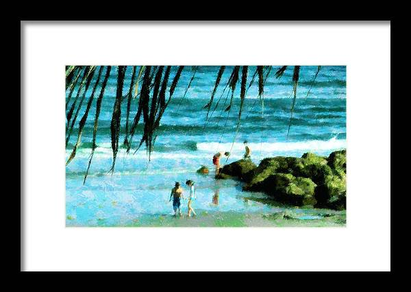 Beach Framed Print featuring the mixed media Treasures At The Jetty by Florene Welebny