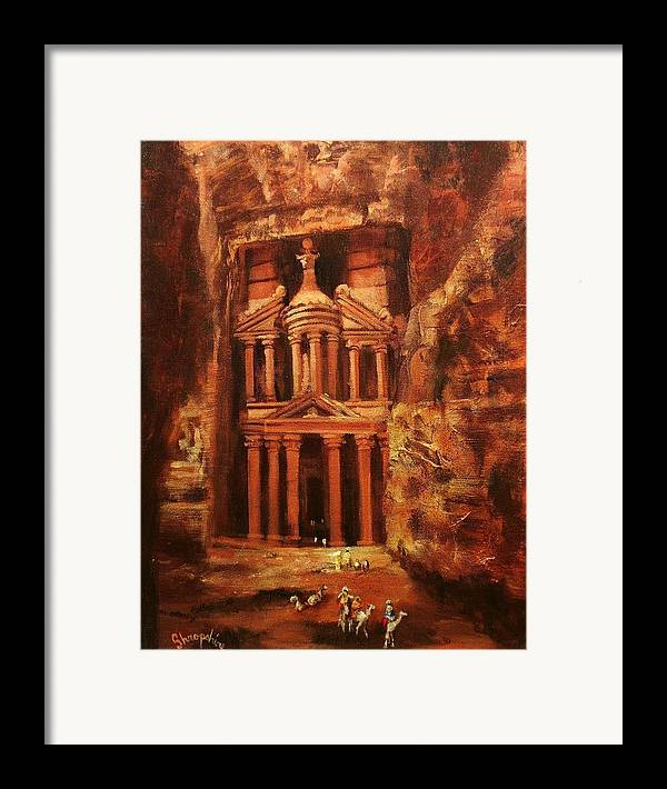 Jordan Framed Print featuring the painting Treasury Of Petra by Tom Shropshire