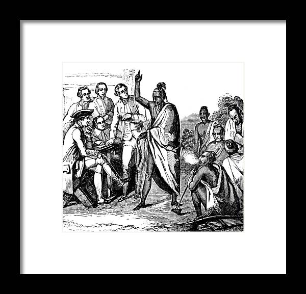 Treaty With Iroquois Indians Five Framed Print