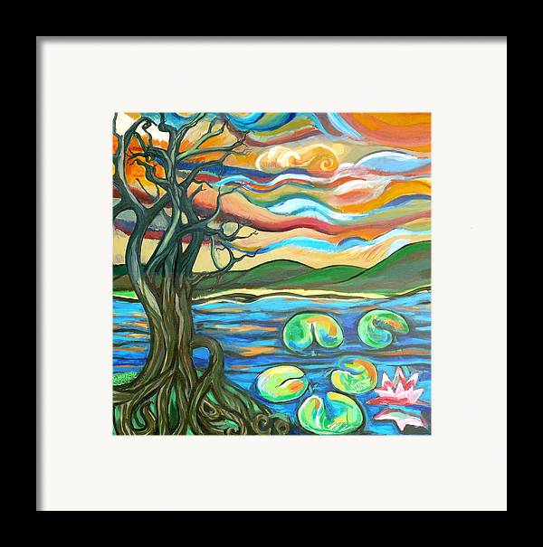Tree Framed Print featuring the painting Tree And Lilies At Sunrise by Genevieve Esson