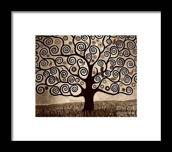Sepia Framed Print featuring the painting Tree Of Life In Sepia by Samantha Black