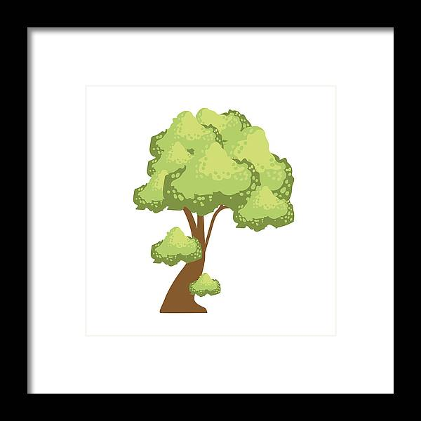 1bcaf2085c60 Wood Framed Print featuring the drawing Tree With Lush Green Foliage