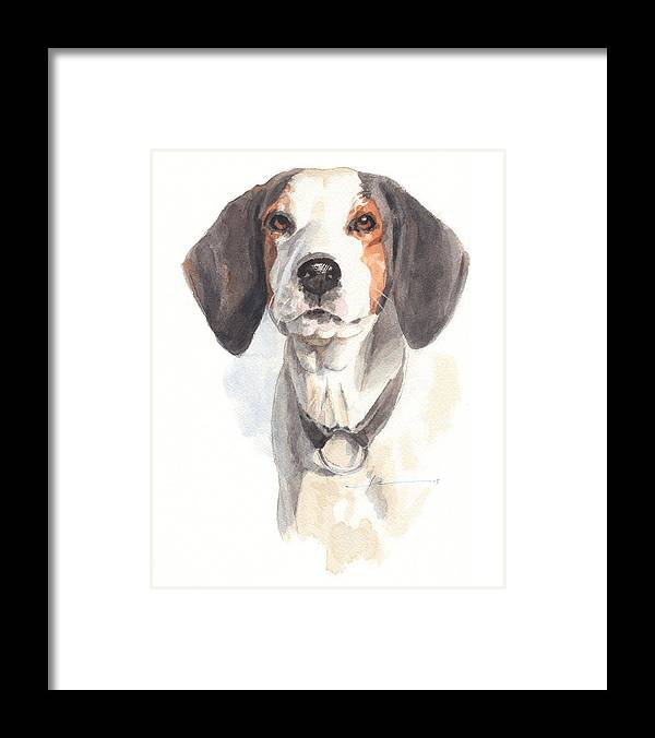 <a Href=http://miketheuer.com Target =_blank>www.miketheuer.com</a> Treeing Walker Coonhound Framed Print featuring the drawing Treeing Walker Coonhound by Mike Theuer