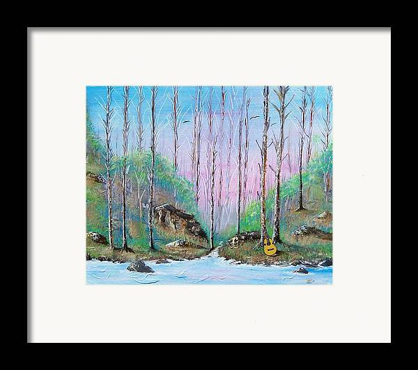 Landscape Framed Print featuring the painting Trees With Cuatro by Tony Rodriguez