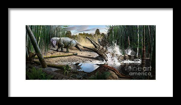 Dinosaur Framed Print featuring the digital art Triassic mural 1 by Julius Csotonyi
