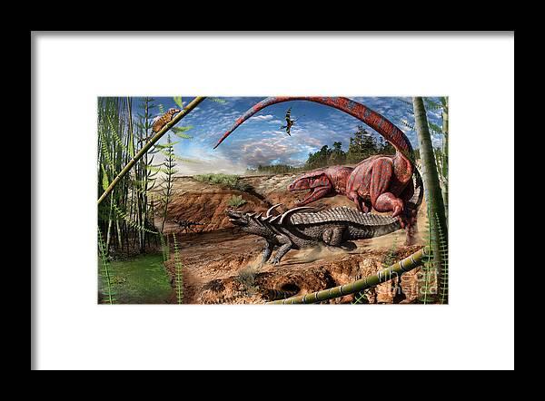 Dinosaur Framed Print featuring the digital art Triassic mural 2 by Julius Csotonyi