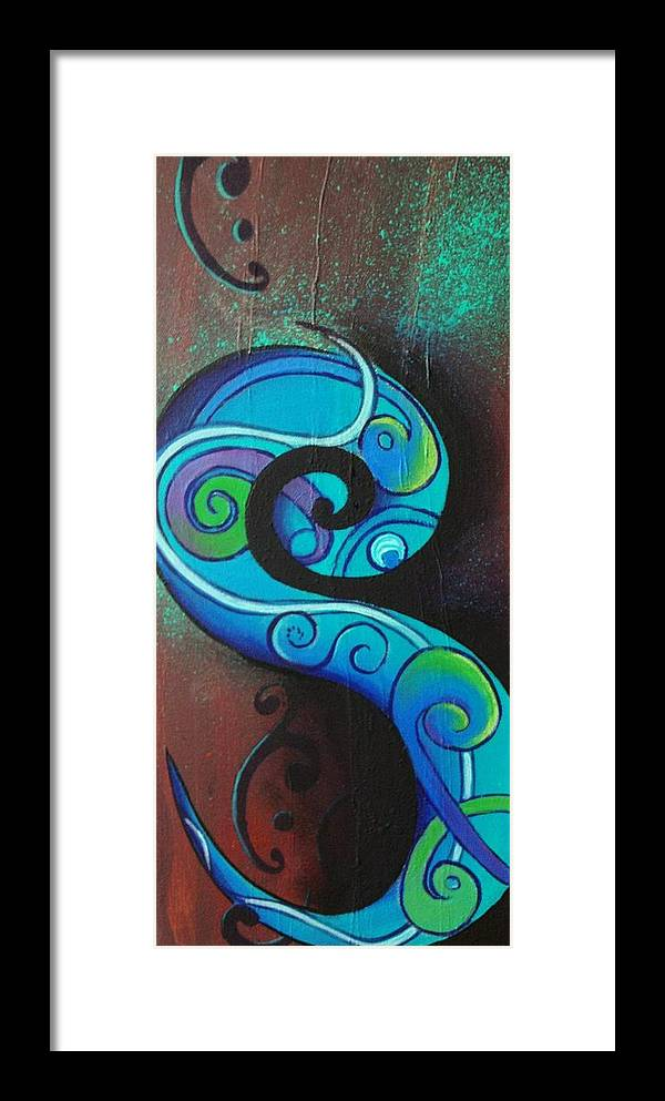 Reina Cottier Paintings Framed Print featuring the painting Tribal Koru Blue by Reina Cottier