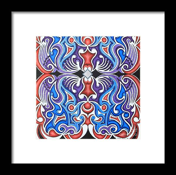 Acrylic Framed Print featuring the painting Tribal Symmetry 1 by Jason Galles