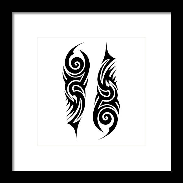 6f9c4a75a Gothic Style Framed Print featuring the drawing Tribal Tattoo Designs  Vector Sketch. Simple Abstract Black