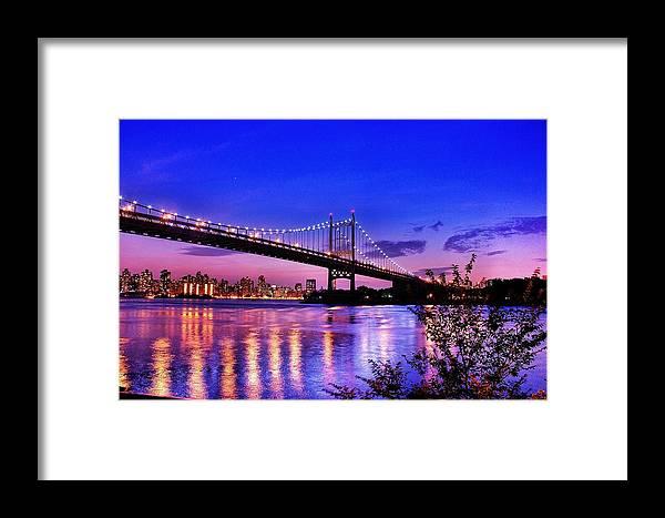 Bridge Framed Print featuring the photograph Triborough Bridge At Night by Monica Zorrilla