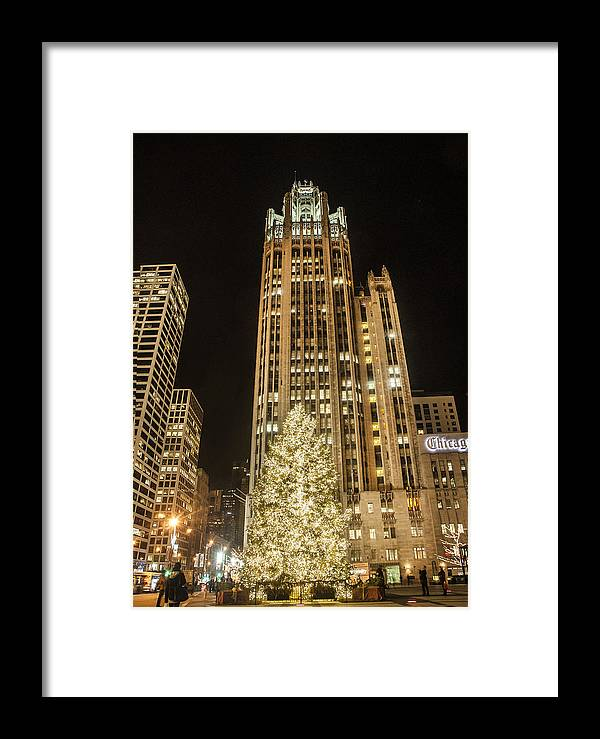 Chicago Framed Print featuring the photograph Tribune Plaza At Christmas by Roger Lapinski